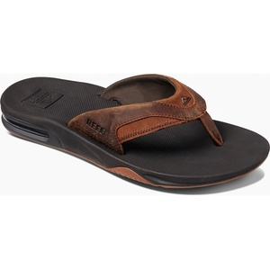 2019 Reef Mens Leather Fanning Sandals / Flip Flops Bronze RF002156